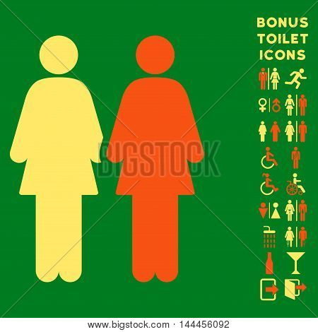 Lesbi Couple icon and bonus man and woman WC symbols. Vector illustration style is flat iconic bicolor symbols, orange and yellow colors, green background.