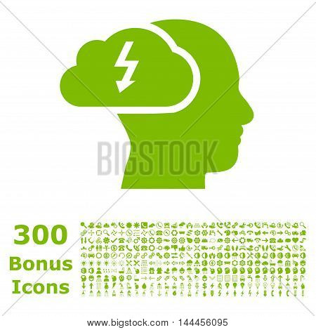 Brainstorming icon with 300 bonus icons. Vector illustration style is flat iconic symbols, eco green color, white background.