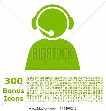 Call Center Operator icon with 300 bonus icons. Vector illustration style is flat iconic symbols, eco green color, white background.