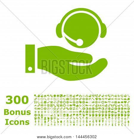 Call Center Service icon with 300 bonus icons. Vector illustration style is flat iconic symbols, eco green color, white background.