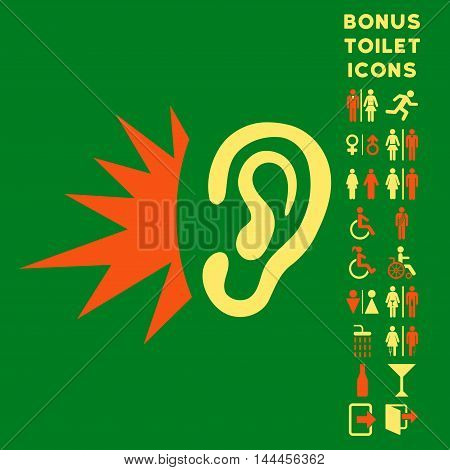 Listen Loud Sound icon and bonus man and woman toilet symbols. Vector illustration style is flat iconic bicolor symbols, orange and yellow colors, green background.