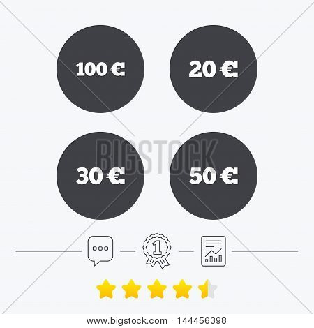 Money in Euro icons. 100, 20, 30 and 50 EUR symbols. Money signs Chat, award medal and report linear icons. Star vote ranking. Vector