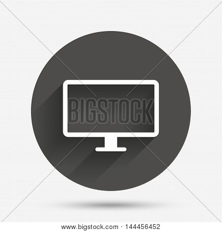 Computer widescreen monitor sign icon. Circle flat button with shadow. Vector