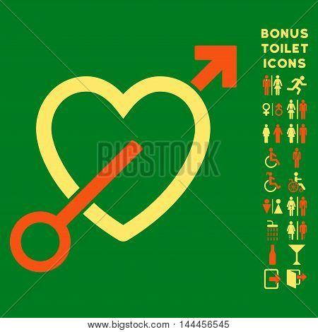 Love Arrow icon and bonus gentleman and female lavatory symbols. Vector illustration style is flat iconic bicolor symbols, orange and yellow colors, green background.