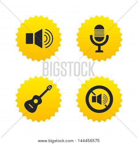 Musical elements icons. Microphone and Sound speaker symbols. No Sound and acoustic guitar signs. Yellow stars labels with flat icons. Vector