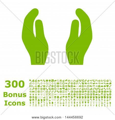 Care Hands icon with 300 bonus icons. Vector illustration style is flat iconic symbols, eco green color, white background.