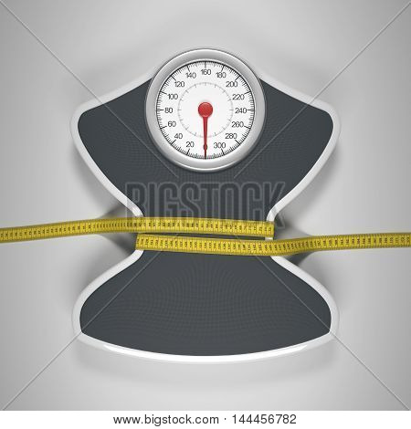 3D illustration. Tape measure around the balance decreasing its measures. Clipping path included.