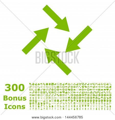 Centripetal Arrows icon with 300 bonus icons. Vector illustration style is flat iconic symbols, eco green color, white background.