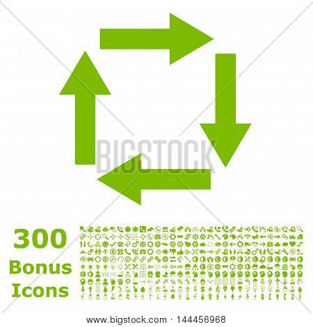 Circulation Arrows icon with 300 bonus icons. Vector illustration style is flat iconic symbols, eco green color, white background.