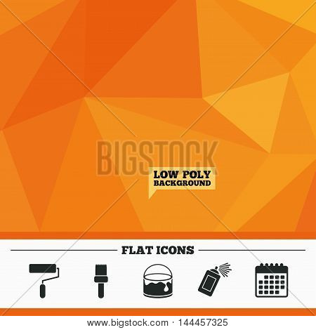 Triangular low poly orange background. Painting roller, brush icons. Spray can and Bucket of paint signs. Wall repair tool and painting symbol. Calendar flat icon. Vector
