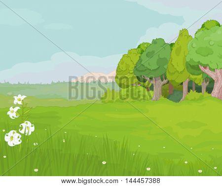Illustration of idyllic mountain landscape