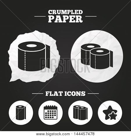 Crumpled paper speech bubble. Toilet paper icons. Kitchen roll towel symbols. WC paper signs. Paper button. Vector