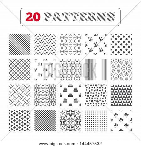 Ornament patterns, diagonal stripes and stars. Birthday party icons. Cake, balloon, hat and muffin signs. Fireworks with rocket symbol. Double decker with candle. Geometric textures. Vector