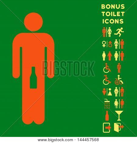 Man icon and bonus man and lady lavatory symbols. Vector illustration style is flat iconic bicolor symbols, orange and yellow colors, green background.