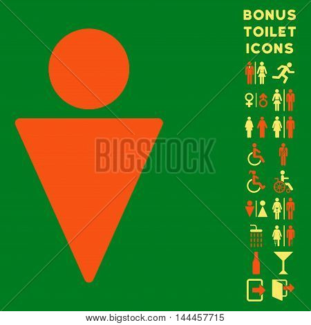 Man icon and bonus man and lady toilet symbols. Vector illustration style is flat iconic bicolor symbols, orange and yellow colors, green background.