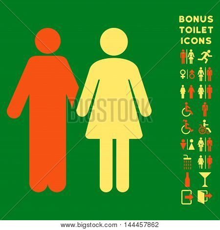 Married Couple icon and bonus gentleman and female WC symbols. Vector illustration style is flat iconic bicolor symbols, orange and yellow colors, green background.
