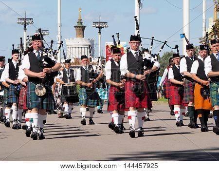 MOSCOW, RUSSIA - August 27, 2016: Pipers. Festival of military orchestras