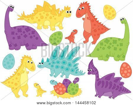 Vector dinosaurs set with babies and eggs