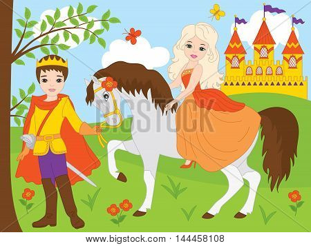 Vector beautiful princess and prince with castle and horse