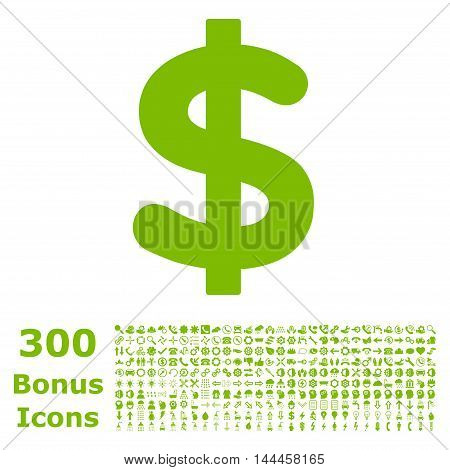 Dollar icon with 300 bonus icons. Vector illustration style is flat iconic symbols, eco green color, white background.