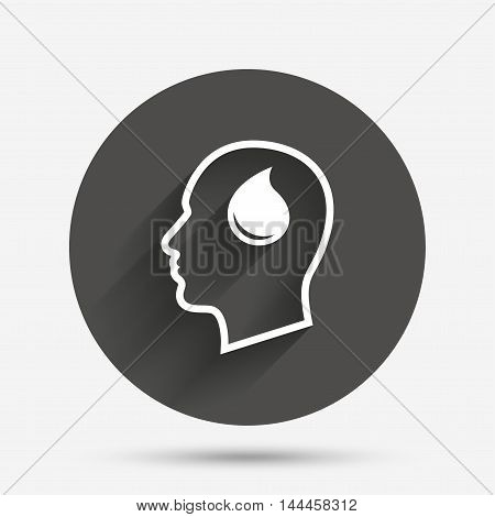 Head with blood drop sign icon. Male human head symbol. Circle flat button with shadow. Vector