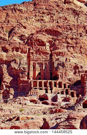 Beautiful view of Tombs of Petra, JORDAN.