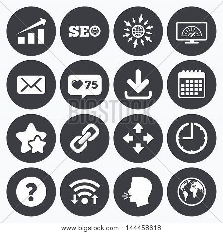 Calendar, wifi and clock symbols. Like counter, stars symbols. Internet, seo icons. Bandwidth speed, download arrow and mail signs. Hyperlink, monitoring symbols. Talking head, go to web symbols. Vector