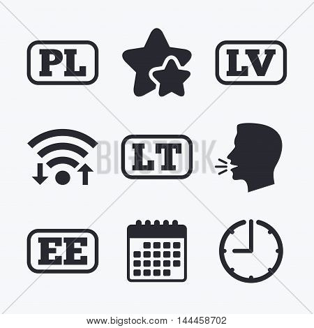 Language icons. PL, LV, LT and EE translation symbols. Poland, Latvia, Lithuania and Estonia languages. Wifi internet, favorite stars, calendar and clock. Talking head. Vector
