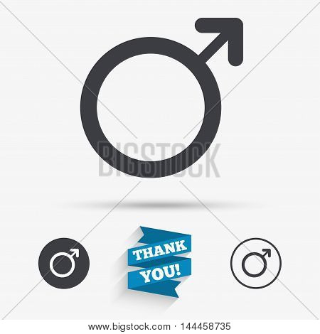 Male sign icon. Male sex button. Flat icons. Buttons with icons. Thank you ribbon. Vector