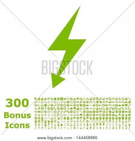 Electric Strike icon with 300 bonus icons. Vector illustration style is flat iconic symbols, eco green color, white background.