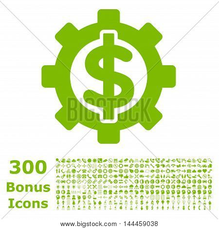 Financial Options icon with 300 bonus icons. Vector illustration style is flat iconic symbols, eco green color, white background.