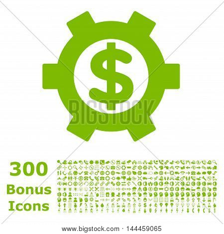 Financial Settings icon with 300 bonus icons. Vector illustration style is flat iconic symbols, eco green color, white background.