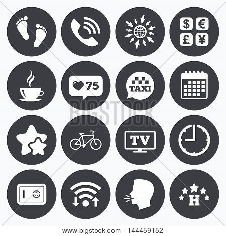 Calendar, wifi and clock symbols. Like counter, stars symbols. Hotel, apartment services icons. Coffee sign. Phone call, kid-friendly and safe strongbox symbols. Talking head, go to web symbols. Vector