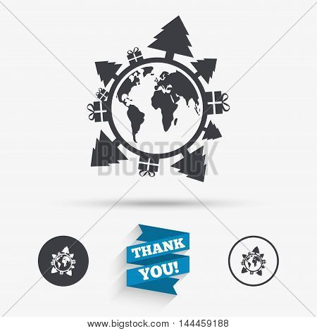 earth sign icon. Gifts and trees symbol. Full rotation 360. Flat icons. Buttons with icons. Thank you ribbon. Vector