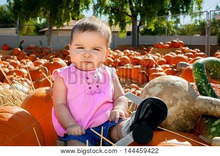 A skeptical looking baby sits atop a batch of pumpkins in a pumpkin patch. She looks casual confident in herself yet unsure of her surroundings. She is wearing a special brace for a club foot.