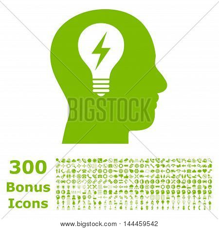 Head Bulb icon with 300 bonus icons. Vector illustration style is flat iconic symbols, eco green color, white background.
