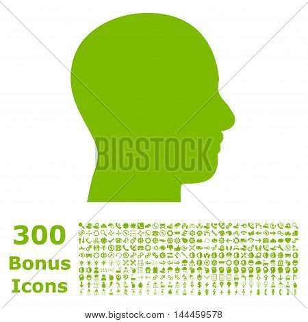 Head Profile icon with 300 bonus icons. Vector illustration style is flat iconic symbols, eco green color, white background.