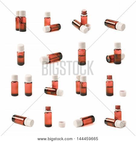 Small red glass flask vial, composition isolated over the white background, set of multiple different foreshortenings