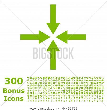 Impact Arrows icon with 300 bonus icons. Vector illustration style is flat iconic symbols, eco green color, white background.