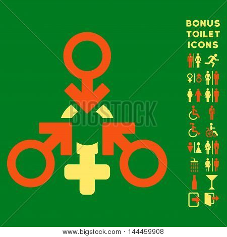 Triple Penetration Sex icon and bonus male and female toilet symbols. Vector illustration style is flat iconic bicolor symbols, orange and yellow colors, green background.
