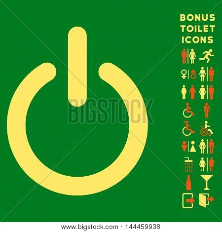Turn Off icon and bonus man and female toilet symbols. Vector illustration style is flat iconic bicolor symbols, orange and yellow colors, green background.