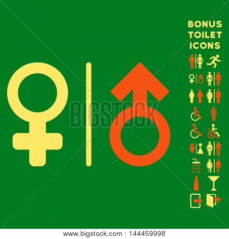 WC Gender Symbols icon and bonus man and lady WC symbols. Vector illustration style is flat iconic bicolor symbols, orange and yellow colors, green background.