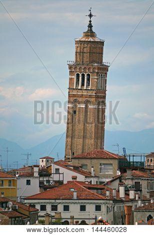 Beautiful view of Santo Stefano campanile, Venice. ITALY
