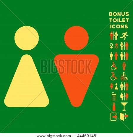 WC Persons icon and bonus male and lady lavatory symbols. Vector illustration style is flat iconic bicolor symbols, orange and yellow colors, green background.