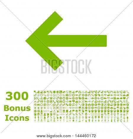 Left Arrow icon with 300 bonus icons. Vector illustration style is flat iconic symbols, eco green color, white background.