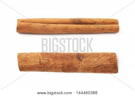Cinnamon stick isolated over the white background, set of two different foreshortenings