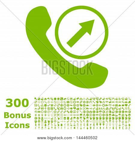 Outgoing Call icon with 300 bonus icons. Vector illustration style is flat iconic symbols, eco green color, white background.