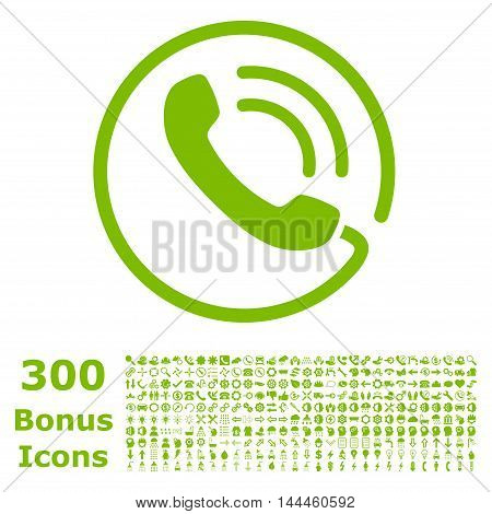 Phone Call icon with 300 bonus icons. Vector illustration style is flat iconic symbols, eco green color, white background.