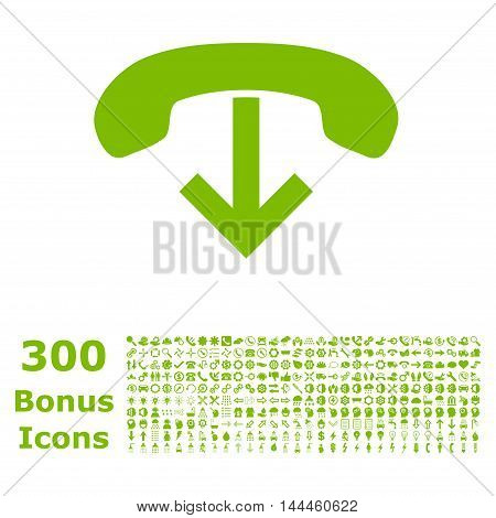 Phone Hang Up icon with 300 bonus icons. Vector illustration style is flat iconic symbols, eco green color, white background.