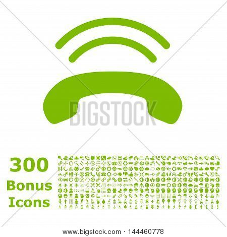 Phone Ring icon with 300 bonus icons. Vector illustration style is flat iconic symbols, eco green color, white background.
